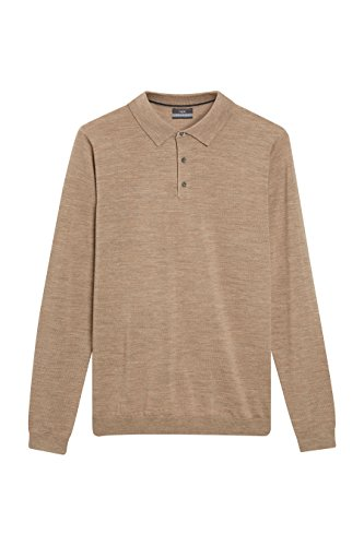Next Herren Poloshirt Merinowolle Normale Passform Polohemd Taupe XL (Shirt Flanell Wolle)