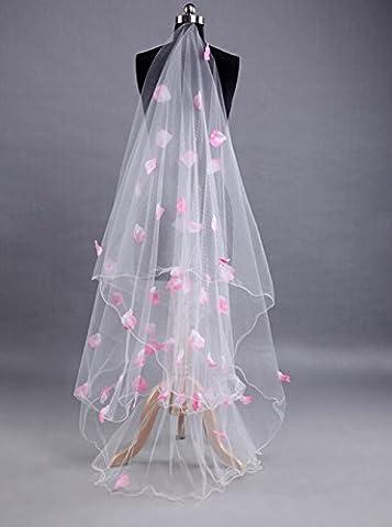 Butterme 1 Tier 3M Rose Flower Ruched Pencil Edge Chapelle de la cathédrale Long Wedding Wedding Bridal Veils