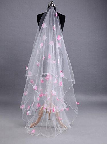 Butterme 1 Tier 3M Rosa Blume Ruched Bleistift Edge Kathedrale Kapelle Lange Hochzeit Brautschleier