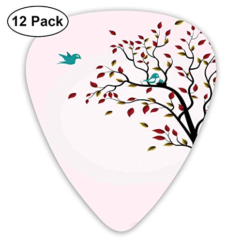 ks - 12 Pack,Abstract Art Colorful Designs,Cute Bird Family On Windy Tree Floral Branches Baby Mother Happiness Themed Art,For Bass Electric & Acoustic Guitars. ()