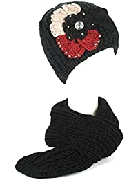 Damen/Frauen Mädchen Gestrickt Bestickt Blütenblätter Strickschals/Schal Kappe/Hüte/Mütze Set mit Strasssteine
