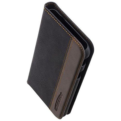 COMMANDER Premium Tasche BiColor BOOK CASE Gentle Black für Samsung Galaxy XCover 4 SM-G390 inkl.Reinigungstuch iMoBi Vapor 4 Bumper Case