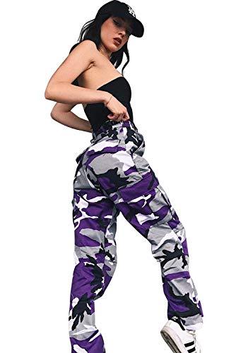 Pantalon Camuflaje Mujer Tallas Grandes Retro Boyfriend Pantalone Chandal Cargo Baggy Hip Hop Danza Harem Pants Leggins Deporte Cintura Alta Camo Trousers Pantalon Militar Colores Punk Rock Streetwear