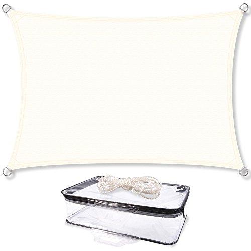 Sonnensegel Sonnenschutz Garten | UV-Schutz PES Polyester wasser-abweisend imprägniert | CelinaSun 1000149 | Rechteck 3 x 6 m creme-weiß