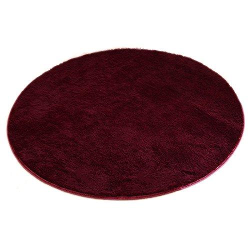 Flauschiger weicher Rund Teppich einfarbige kuschelige Fußmatte für Wohnzimmer Schlafzimmer Kinderzimmer Spielen und Yoga / Durchmesser: 40cm / mehrere attraktive Farben zur Auswahl - weinrot (Gelb Blau Bad-teppich)