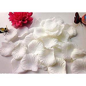 CHSYOO 1000 x Artificiales Flores Pétalo Rosas Confeti, Decoración Accesorios para Bodas San Valentín Cumpleaños Fiesta, Blanco
