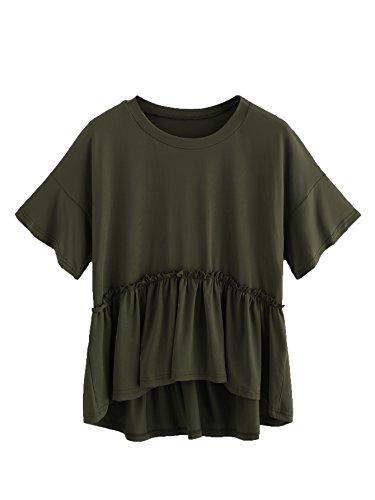 ROMWE Damen Locker Baumwollbluse mit Rüschenkanten Kurzarm T-Shirt Tunika Armee Grün XL (Rüschen-shirt)