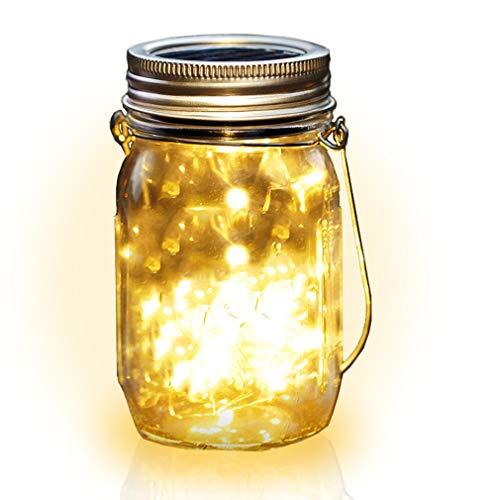 t, 20 LED String Fee Star Firefly Jar Lichter, Wasserdicht, Dekoration für Patio, Garten, Party, Weihnachten, Draussen Hängende Laternen, Tabellen Licht (Warmes Weiß) ()