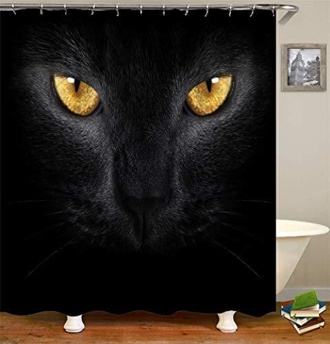 Tierdekoration. Im Dunkeln. Eine Schwarze Katze. Gelbe Augen. Einen Wilden Blick Zeigen. Vorhang Der Dusche. Wasserdicht. Mildewproof Einfach Zu Säubern. 180X180Cm.