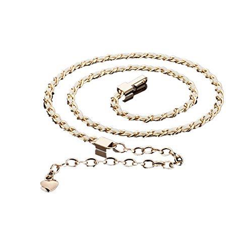 Damen Fashion Gürtel Mode Metall Taille Seil mit Kleid dekorative Taille Kette, beige, 80-95cm