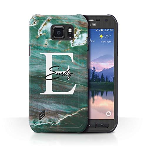 eSwish Personalisiert Individuell Mode Marmor Stein Hülle für Samsung Galaxy S6 Active/G890 / Petrol Grünes Monogramm Design/Initiale/Name/Text Schutzhülle/Case/Etui
