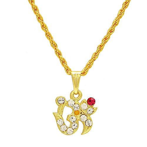 Memoir Gold plated White and Red American Diamond AD studded OM chain pendant locket necklace jewellery for Men and Women