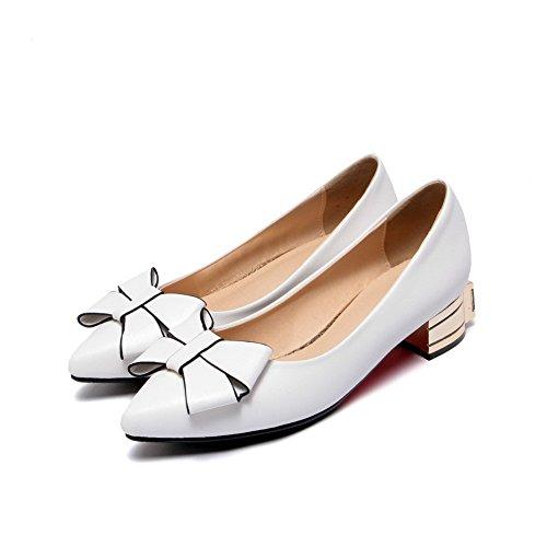 AllhqFashion Femme Tire Pointu à Talon Bas Verni Couleur Unie Chaussures Légeres Blanc
