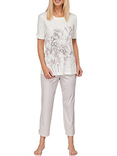Damen-kurzarm-baumwolle Interlock (Schiesser Damen Schlafanzug Pyjama 7/8-lange Hose und Kurzarm Shirt - 151926, Größe Damen:42;Farbe:naturweiss)