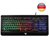 VicTsing Gaming Tastatur USB, Regenbogen beleuchtete Tastatur, Ganzmetallpaneel, QWERTZ Layout, 19 Tasten Anti-Ghosting ideal für Gaming, für PC/Laptop/Desktop/Windows/PS4, Schwarz
