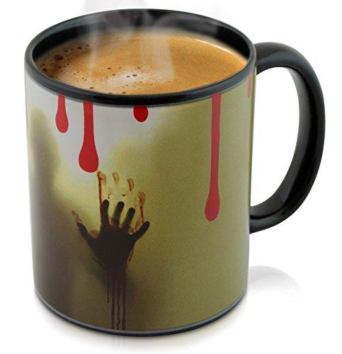 Keramik Tasse mit Thermoeffekt - 'Jack The Ripper' Design ca. 0,3l - Grusel Kaffeetasse zum...