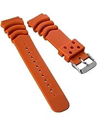 Correa del reloj ZULUDIVER resina Inmersión por Seiko Z22 Naranja 22mm