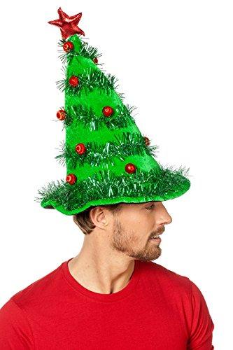 Wilbwers 67008 Mütze Weihnachtsbaum Lametta grün mit Blinklichtern