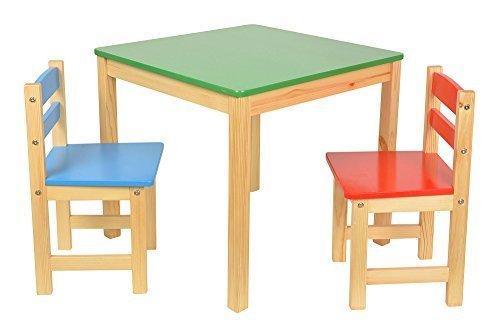 Set tavolino con sgabelli colorati per bambini. tavoli in legno