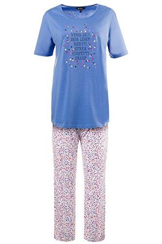 Ulla Popken Damen große Größen bis 66+ | Zweiteiler Pyjama | Motto und Konfettidruck | Halbarm, runder Ausschnitt | Lange, gerade Hose, Rundum-Gummibund | 708941 Multicolor