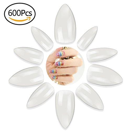 HbSelect 600 Stück Acryl künstliche falsche Fingernägel in 10 Größen (0-9) natürliche Wassertropfen Nägel für Damen
