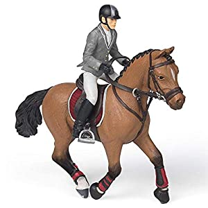 Papo- Competition Horse with Rider Figura, Multicolor (51561)
