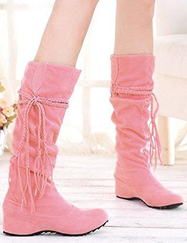 Minetom Donne Autunno E In Inverno Stivali Increspatura Matte Superficie Altezza Crescente Scarpe Rosa