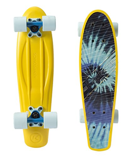 Kryptonics SK15162275 Skateboard 22.5 Zoll Drop-Through Komplettboard mit ABEC 1 Kugellager, Skateboarding - Board Classic Torpedo (Tiedye)
