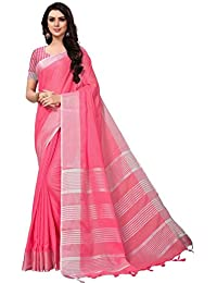 Indian Beauty Women's Solid Woven Linen Saree With Blouse Piece (Baby Pink, MN7332E)
