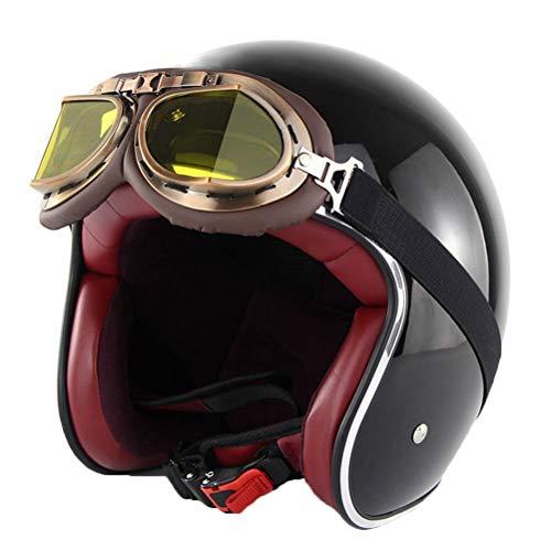Männer Frauen Universal Retro Harley Motorradhelm Classic Mit Brille Chopper Lokomotive Roller Sicherheitskappen Leichte Stoßfest Pilot Motocross Helm
