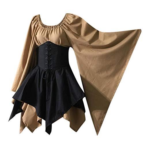 Lookhy Frauen Mittelalterliche Cosplay Kostüme Gothic Retro Langarm Korsett Kleid Mittelalterkleid Mittelalter Kleidung Langarm Mittelalter Party Viktorianischen