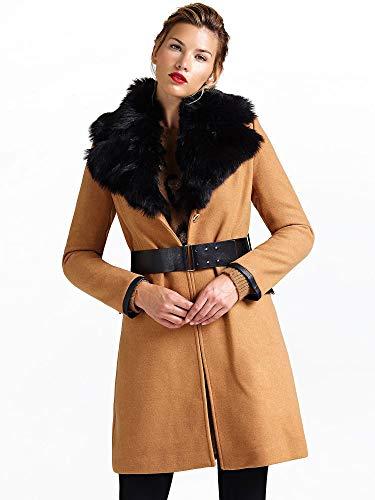 Guess cappotto revers pelliccia sintetica - xl, cammello