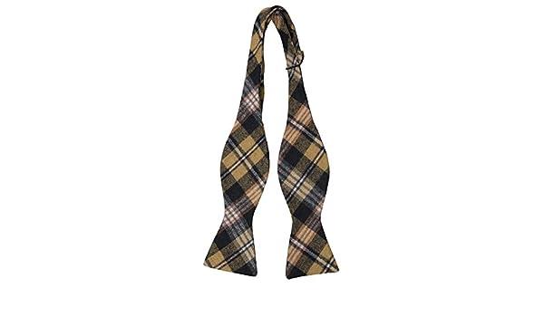 Slim necktie - Mustard, black, dark navy, orange & white plaid Notch