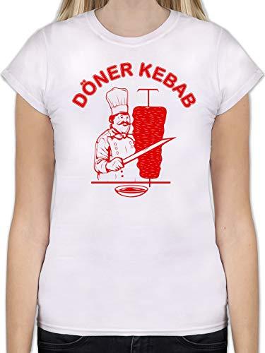 Statement Shirts - Original Döner Kebab Logo - L - Weiß - L191 - Tailliertes Tshirt für Damen und Frauen T-Shirt