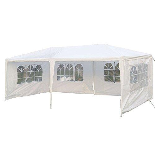 MCTECH 3 x 6 m blanco Jardín Carpa tienda de campaña tienda de cerveza Tienda de fiesta,4 x paredes laterales, 4 x ventanas, lona de PE impermeable
