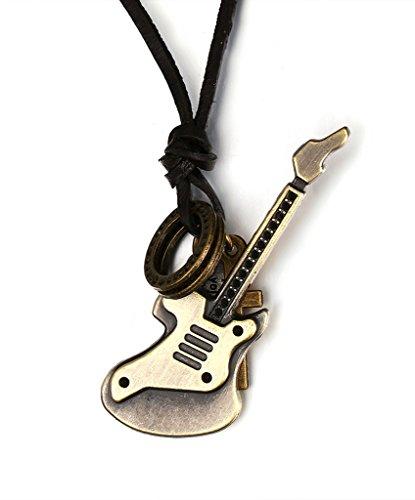 Mens Fashion Jewelry - Ciondolo da donna a croce, in ottone, stile vintage, con ciondolo a forma di anello, per chitarra, cinghia in pelle