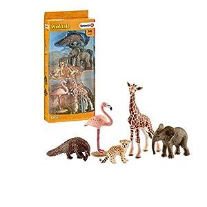 Schleich- Colección Wild Life Set de Figuras de Animales, Guepardo, Pangolín Gigante, Flamenco, Jirafa y Cría de Elefante, Multicolor (42388)