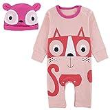 Mombebe Baby Mädchen Halloween Kostüm Säugling Kätzchen Strampler Overall mit Hut (Kätzchen, 9-12 Monate)