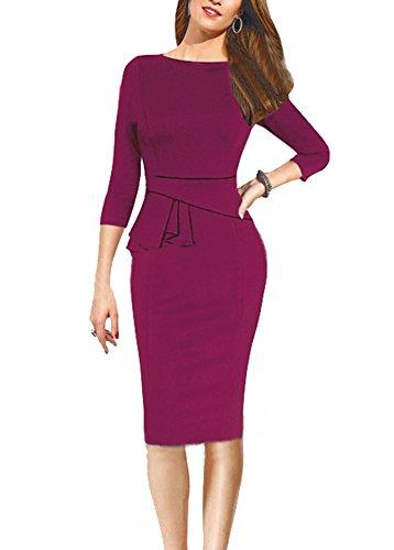 U8Vision Damen Rundhals Langärmel Winterkleid Etuikleid Knielang Party Business Kleid Abendkleid Gr.S-XXL Dunkelrot