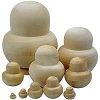 Ambility 10pcs Madera Embryos Anidamiento Ruso Matrioska Muñecas Juguetes sin Pintar Bricolaje Blanco para Niños Regalo - Small