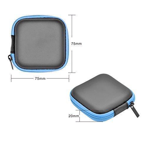 iProtect Schutztasche Hülle Box für Kopfhörer Ohrstöpsel u.A. / inkl. Netztasche in schwarz-blau-blau