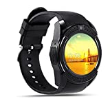 Bluetooth Smart Watch Compatible with 3G, 4G Phone With Sim & Tf Card Support With Apps Like Facebook And Whatsapp Touch Screen Multilanguage Android/Ios Mobile Phone Wrist Watch Phone With Activity Tracker And Fitness Band v9 Black By JOKIN