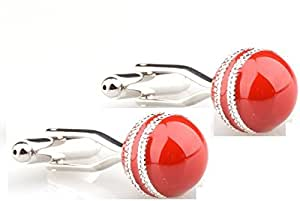Amaal Multicolor Crystal Silver Plated Cricket Ball Shaped Cufflink Set for Men and Boys