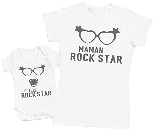 Future Rock Star Fille - Ensemble Mère Bébé Cadeau - Femme T Shirt & bébé Bodys - Blanc - M & 12-18 Mois