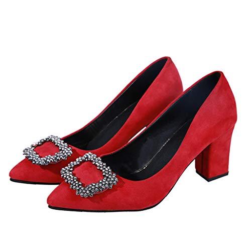 Henxizucun Damen Sweet High Heel Pumps Mary Jane Riemchen Formale Büro Größe Pumps Party Schuhe Damen Closed Toe Lederschuh,Red,34 -