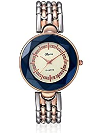 Oleva Women Fashion Blue And White Dial Metal Analog Watch OMW-2-BLU WHITE