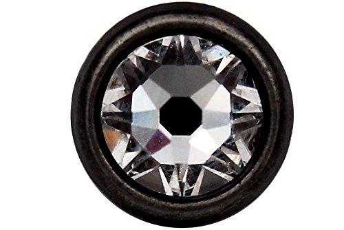 Knöpfe silber antik mit echtem Swarovski Kristall Strass bezaubernd klein Metall 10mm oder 7mm, Ösenknöpfe (6 Stück) (10mm) (Kristall-knöpfe Kleine)