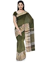 R K Chouhan Maheshwar Maheshwari Handloom Cotton & Silk Saree (Silver)