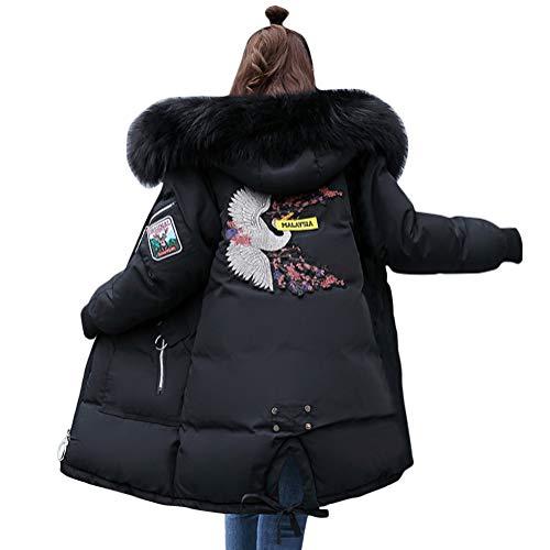 Minetom Damen Winterjacke Lang Schwarz Parka Damen Fell Jacke Winter Mantel Daunenjacke Outwear Mit Fellkapuze Schwarz 01 DE 42