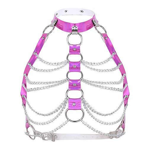 iixpin Damen Glänzend Brust Harness Riemen Einstellbar Body Metall BH Schnalle Bondagekleidung Rose One Size